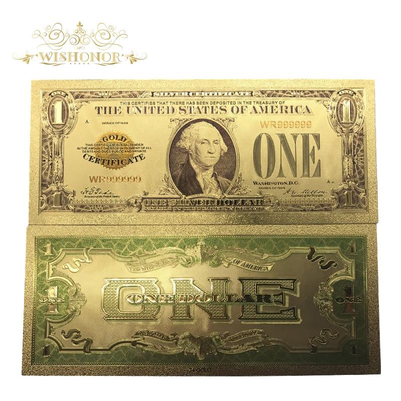 10 pçs/lote 1928 Anos na América Do 24 k Notas De Ouro Nos 1 Dólar Banhado A Ouro Banknote Bill Moeda Dinheiro Falso Para coleção