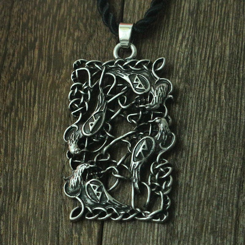 Lanseis, 10 Uds., colgante de cuervo con símbolo Vikingo, collar de pájaro negro, joyería