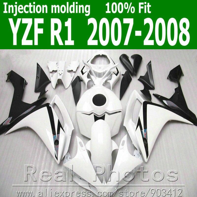 Moldagem por injeção carenagens set para YAMAHA R1 kit carenagem 2007 2008 jogos do corpo de plástico preto branco 07 08 YZF R1 NB8