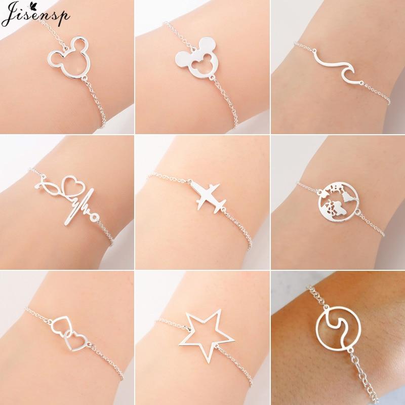 Jisensp браслеты с Микки из нержавеющей стали для женщин, повседневные украшения, браслет с подвеской в виде карты мира, браслет с сердечком, женский подарок на свадьбу