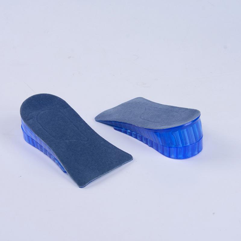1 par de doble capa de plantillas de silicona cómodo Unisex de los hombres de las mujeres de Gel de silicona elevación, aumento de altura de plantillas de zapatos de tacón insertar Pad