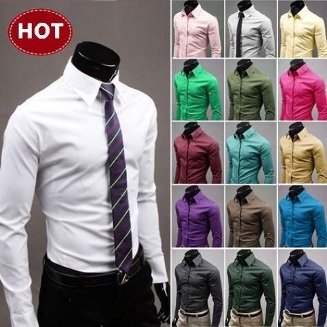 2016 camisas elegante manga larga chemise homme masculina 17 colores tamaño M-XXXL social de 6492 camisas de vestir para hombre
