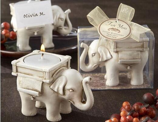 Candelabro de vela de elefante de la suerte de cerámica para recuerdos de boda 200 Uds.