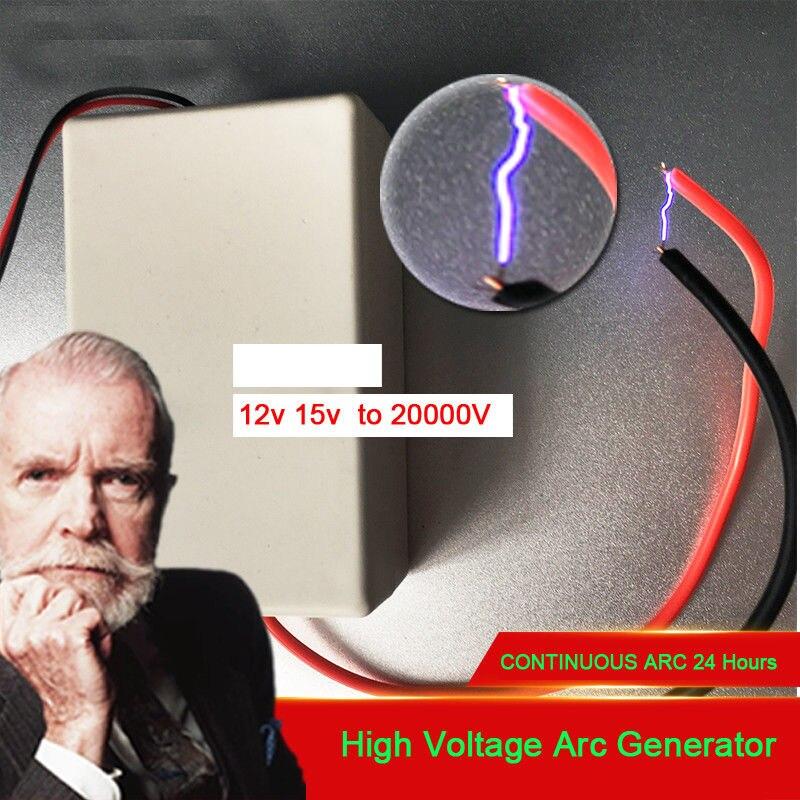 DC 9V 12V 15V a 20kV generador de impulsos de alto voltaje módulo arc generador Boost transformador de descarga de la bobina de encendido, iones negativos, ozono,