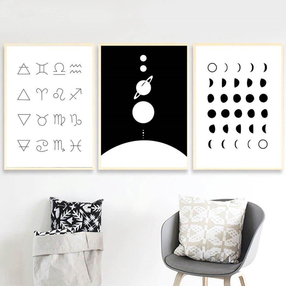 Geométrico abstracto Total Eclipse carteles nórdicos e impresiones cuadro sobre lienzo para pared fotos para sala de estar decoración cuadrada