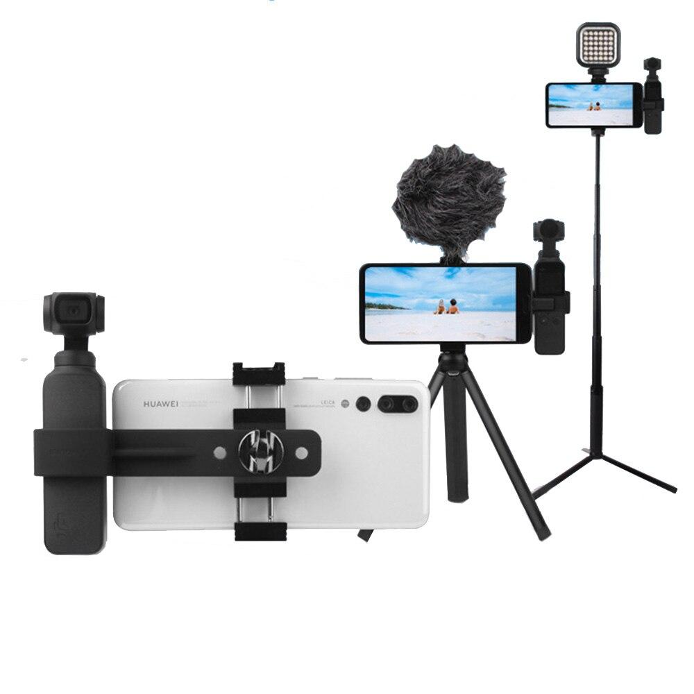 OSMO Pocket Camera Selfie Stick+Phone Clip Holder + Tripod Stand Bracket Mount Set for DJI OSMO Pocket Handheld Gimbal