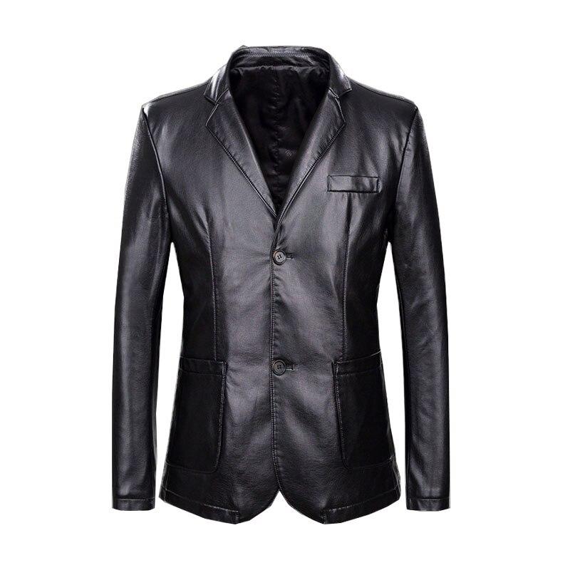 Autumn and Winter new long section suit Men's Suit collar Large size Leather Men's Black PU leather Color Black / Royal blue