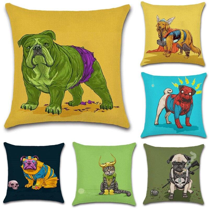 Bonita funda de cojín con diseño de cómic de perros, gatos, Hulk, Thor, decoración para casa, fiesta, funda de cojín para silla, sofá, niños, regalo para Amiga, regalo