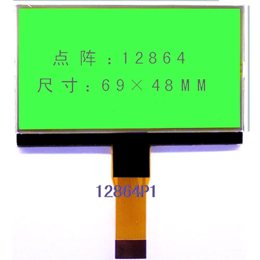 12864 pantalla LCD COG de matriz de puntos de gran tamaño pantalla LCD 69*48mm FPC puerto serial 20pin 0,5mm paso 3,3 v luz de fondo