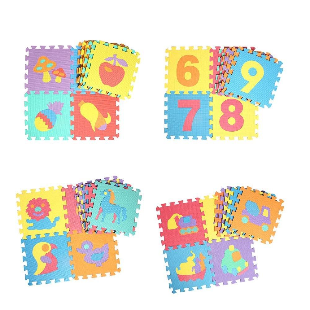 10 Uds puzle de espuma de animales alfombra para niños alfombra de EVA con articulación dividida alfombra de juego de bebé puzle de actividad suave para interiores alfombrillas con número de Friuit