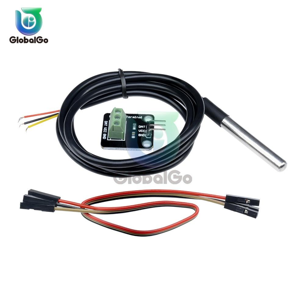 1 juego DS18B20 Sonda de Sensor de temperatura resistente al agua de acero inoxidable 18B20 placa adaptadora del módulo del Sensor de temperatura