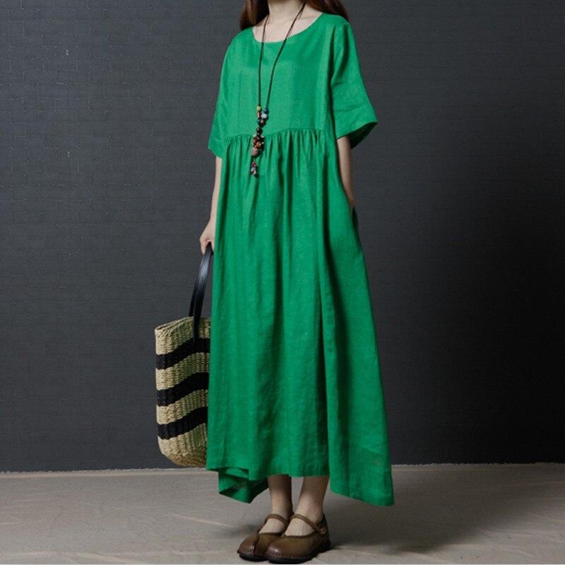 2020 Primavera Verano media manga vestido largo algodón Lino vintage cuello redondo vestido sólido de talla grande M-7XL negro Delgado moda casual