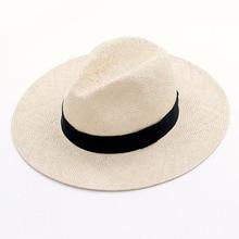 Chapeau dété en Sisal naturel fait main unisexe pour femmes hommes chapeau de soleil à large bord Trilby paille Fedora véritable havane rétro casquette de Jazz de plage