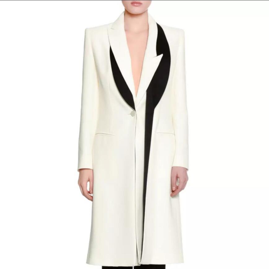 Negro Blanco patchwork de manga larga chaqueta de mujer delgada chaqueta de mujer traje femenino OL Office lady Blaze