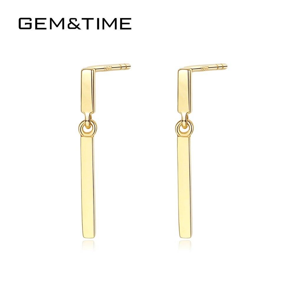 Gem & Time minimalista Post Bar macizo auténtico 14K oro gota pendientes para mujeres boda joyería fina oro amarillo Brincos AU585 E14117