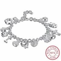 925 sterling silver 13 charms cross lock key heart star moon flower zircon bracelet bangle womens fine jewelry accessories