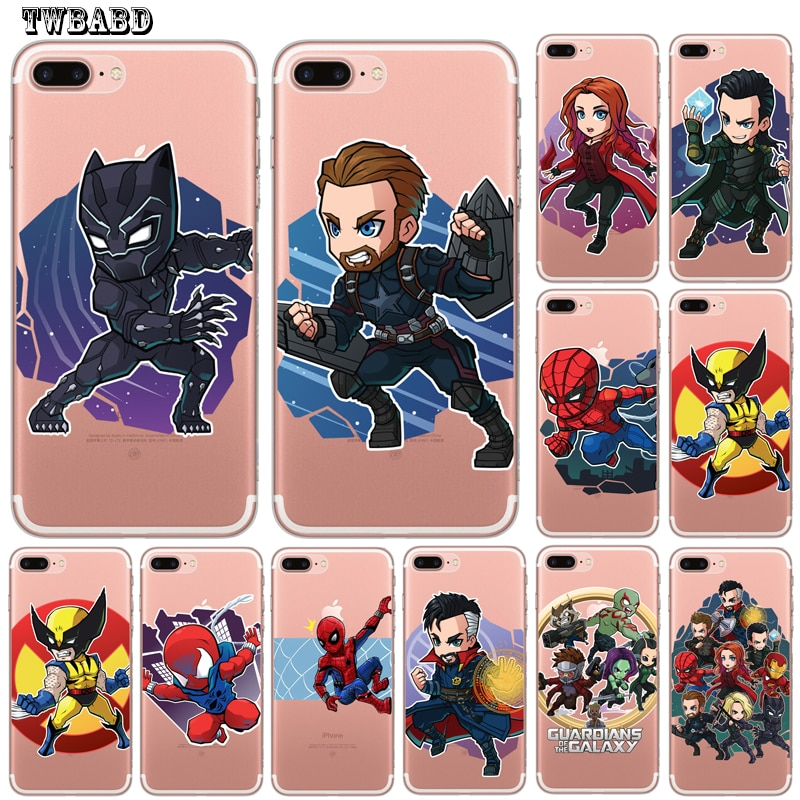 Para Fundas iPhone XS Max XR 6 5S 5 5S 6S 6 7 8 Plus X Marvel Pantera Negra veneno Loki estuche Fundas de coque