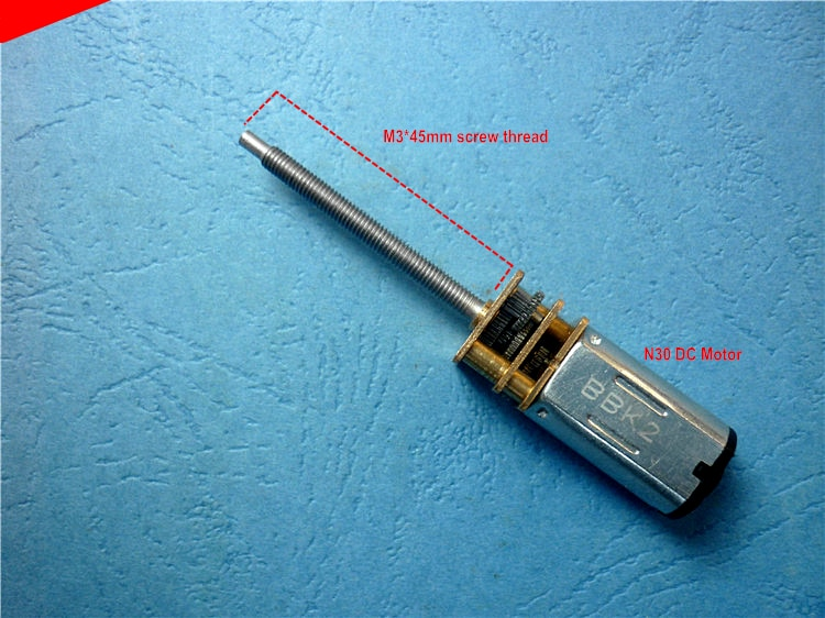 N30 DC 12MM Motor de engranaje M3 * 45 mmeje de rosca de tornillo de ala fija tren de aterrizaje tornillo de elevación de motor