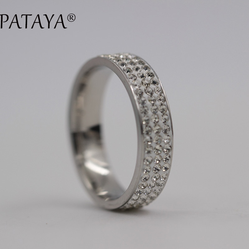 PATAYA New RU Hot Sale Stainless Steel Big Rings True White Gold Round Rhinestones Ring Women Trendy Party Wedding Jewelry