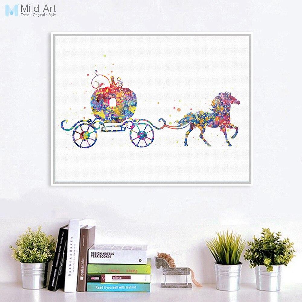 Original aquarela cinderela abóbora carruagem pop fantasia dos desenhos animados arte impressão cartaz da parede imagem da lona pintura menina quarto deco