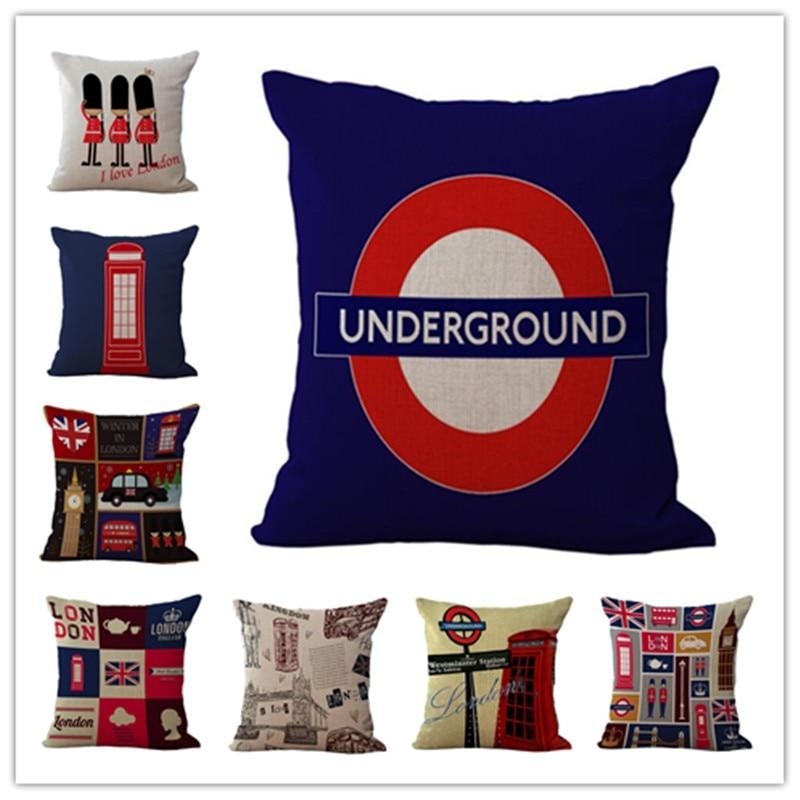 Funda de cojín de lino de algodón con estampado londinense de estilo occidental moderna, fundas de almohada para sofá, fundas de almohada decorativas de 45x 45cm
