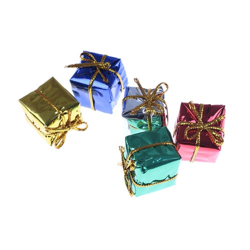 Minicaja de regalo de papel púrpura con configuración navideña de 10 Uds. 112, casa de muñecas en miniatura DIY, casas de muñecas en miniatura