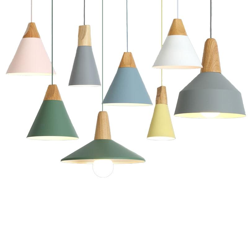 الشمال بسيطة قلادة أضواء E27 الألومنيوم الخشب الإيطالية مصباح المنزل مطعم عداد طاولة طعام إضاءة ديكورية