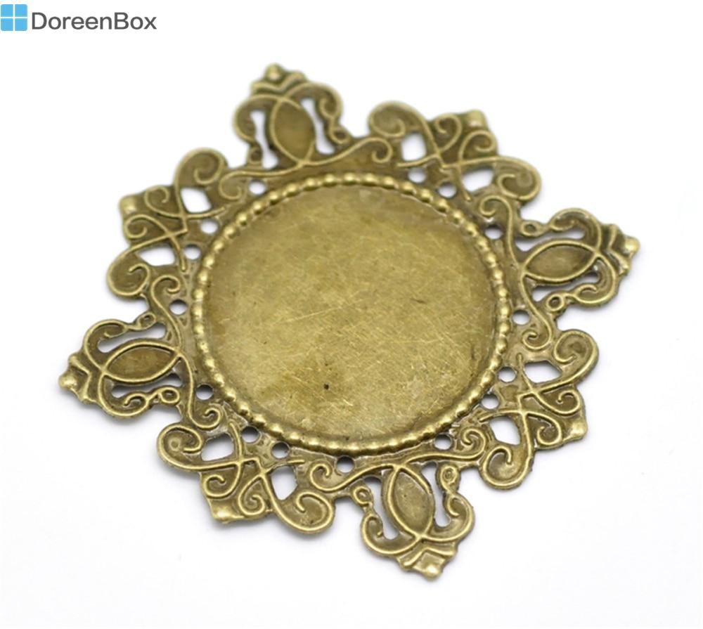 Doreen Box Lovely 30 Antique Bronze Filigree Cabochon Setting Wraps Connectors Embellishments 4.3x4.3cm(Fit 2.3cm Dia) (B18552)