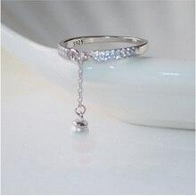 925 пробы серебряные микро циркониевые кольца цепь с искусственным жемчугом Регулируемые кольца для женщин anillos Bague S-R334