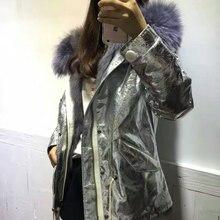 Veste en tissu argenté imperméable doublure en fourrure de renard manteau dhiver à capuche de raton laveur gris