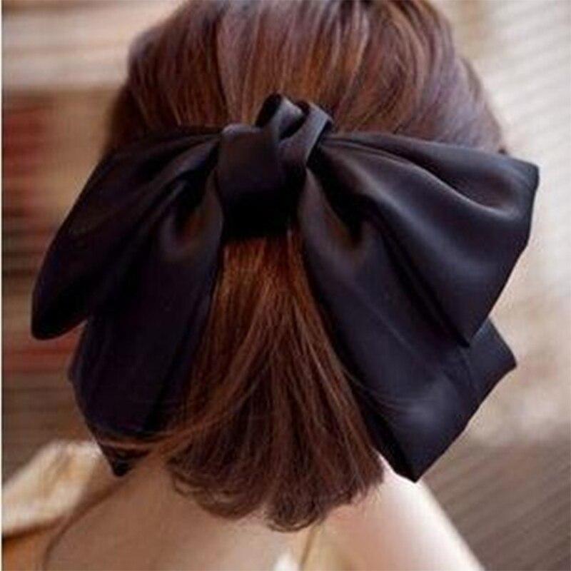 Horquillas de lazo grande de Color liso a la moda pinzas de pelo para mujer encantadoras y populares accesorios para el cabello regalo rojo/azul/Verde/Negro/rosa