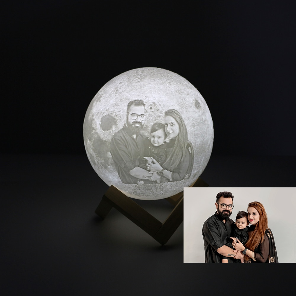 Custom Made Moon Lamp 3D Printing Moon Photo Text Pattern On Light Glowing Moon Lamp Touch Variable