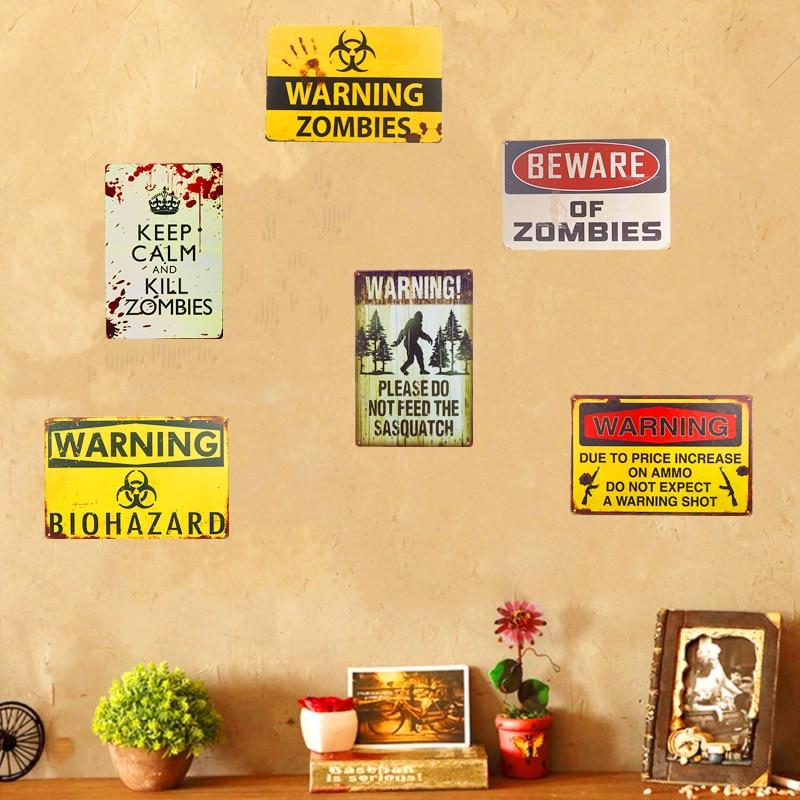 Warnung Zombie Sasquatch Zinn Metall Zeichen Plaque Bar Vintage Retro Wand-dekor Poster Home Wand Decor