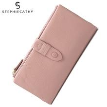 SC women genuine leather long wallet multi cards funcition pocket coin purse ladies hand bag female fashion buckle zipper wallet