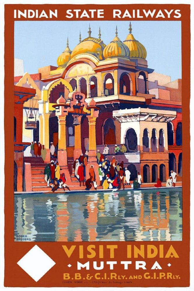 Vintage India viajes ferrocarril Estado indio Retro cartel lienzo pintura DIY papel pared pósters decoración para el hogar regalo