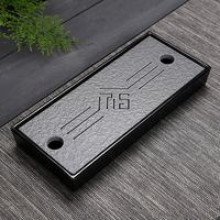 Chinese tray Teatray Rectangle Melamine Drain water storage Black Stone holder travel tea set tea board
