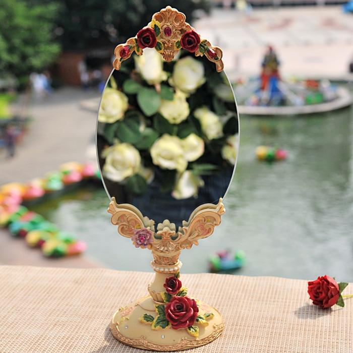 11*28cm,Red roses retro home resin facing mirror vanity mirror, home accessories, princess room decoration