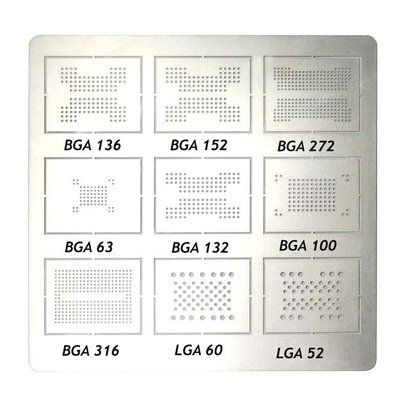 Jyrkior для 9 в 1 BGA136 BGA152 BGA272 BGA63 BGA132 BGA100 BGA316 LGA60 LGA50 BGA трафарет для растений жестяная стальная сетка