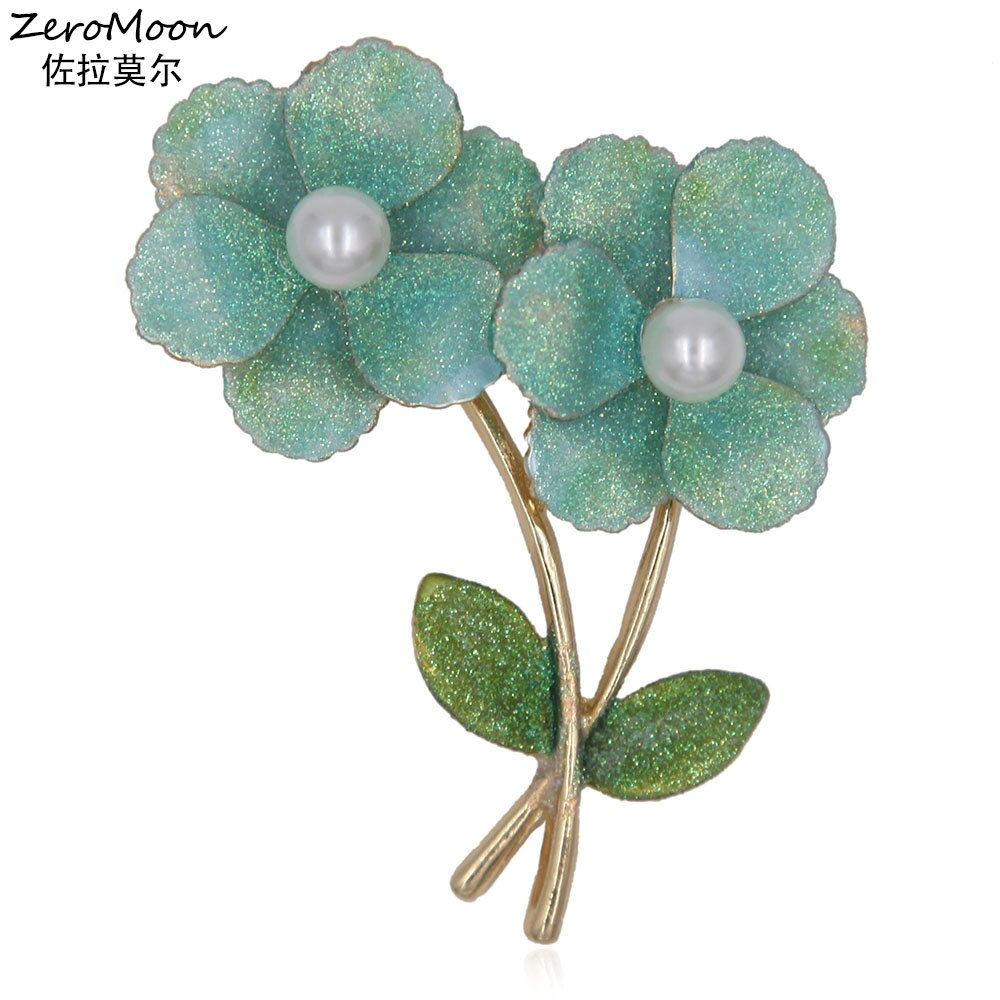 Elegance Glitter 3D helado flor broche PIN de mujeres perla ropa moda joyería regalo accesorio 2017