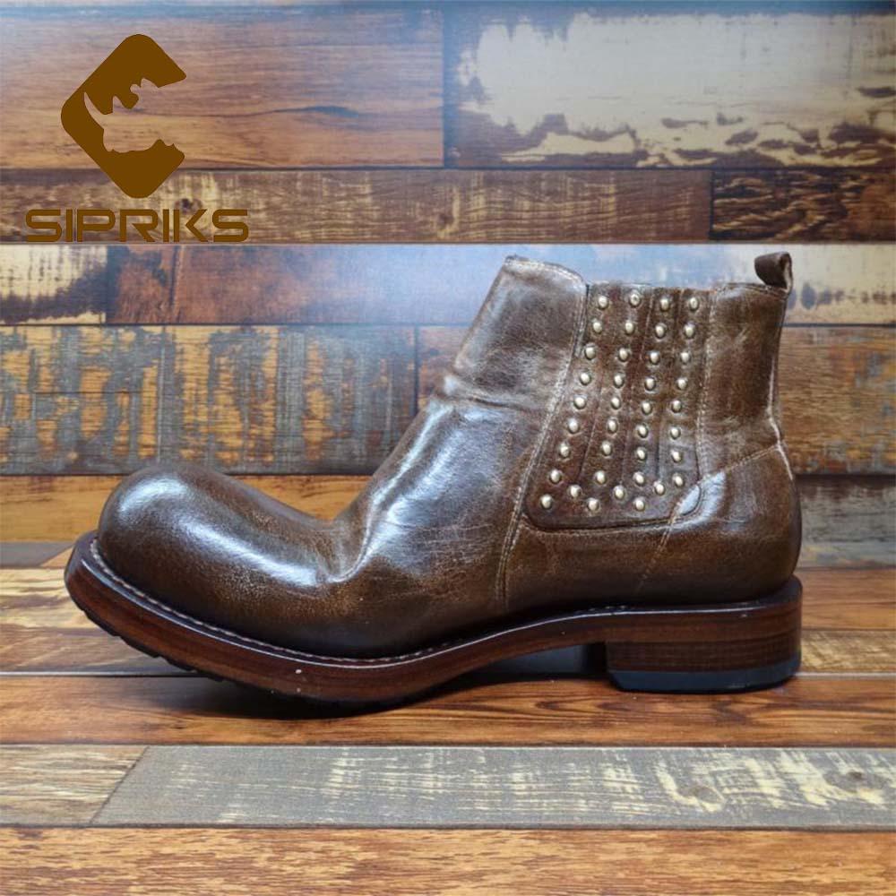 Sipriks فريد مصمم الرجعية الكاحل أحذية رجالي جلد طبيعي كبيرة جولة اصبع القدم رعاة البقر الأحذية جوديير مجلود تشيلسي الأحذية خمر