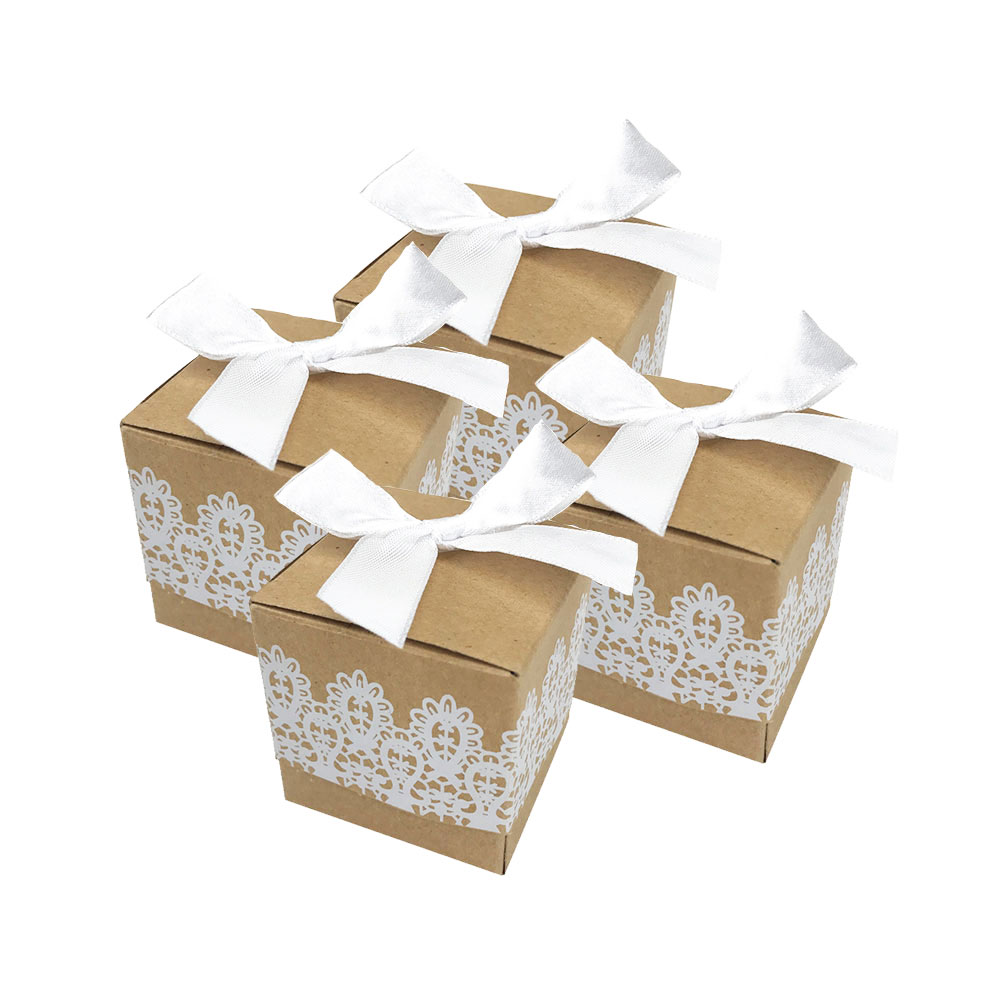 Cajas de recuerdo de Boda de encaje blanco, 10 Uds., papel Kraft,...