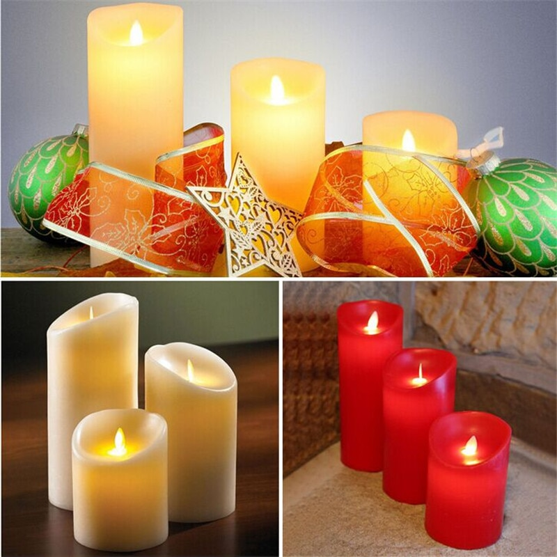 Luces led ámbar para decoración de cera, velas en movimiento para boda