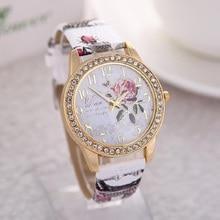 Reloj mujer montre femme Rose fleur motif cadran femmes montres-bracelets cuir Graffiti bracelet dames horloge relogio feminino