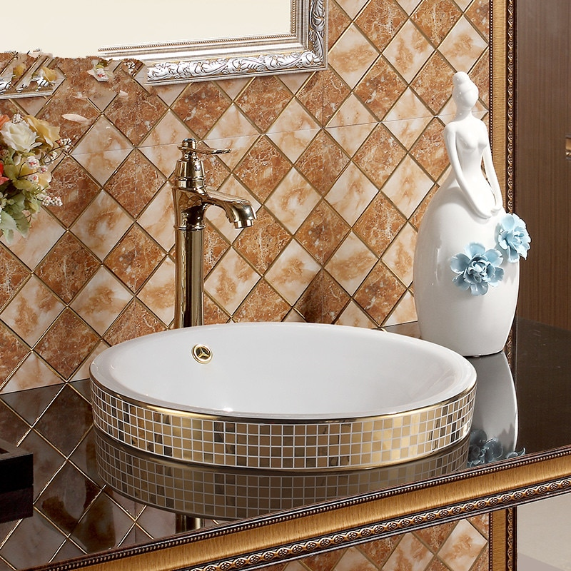 Mosaico oro chino lavado lavabo Jingdezhen arte contra cerámica superior fregadero para cuarto de baño lavabo Taichung desbordamiento cuenco de lavabo de baño