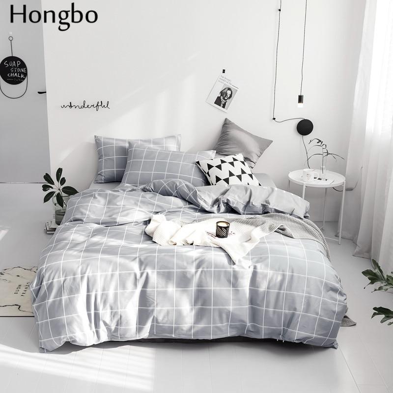Hongbo-طقم سرير 2019 قطن ، غطاء لحاف رمادي