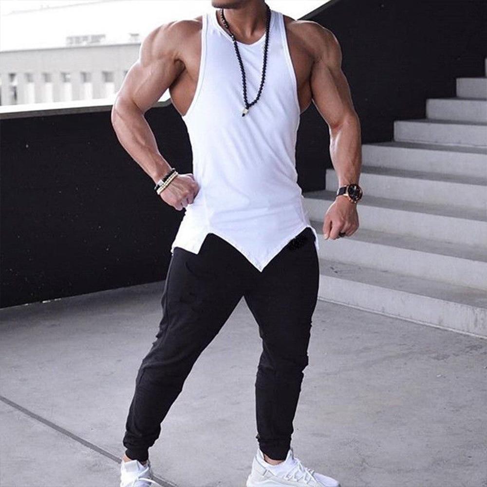 Masculino clássico básico atlético esporte ginásio fitness tank top casual sólido sem mangas colete
