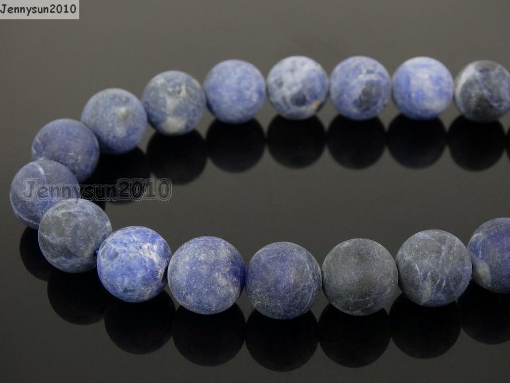 Sodalita mate Natural 12mm piedras preciosas esmeriladas bola redonda cuentas espaciadoras sueltas 15 5 hebras/paquete