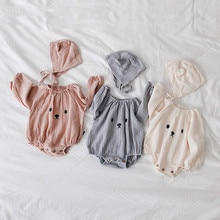 Vêtements pour bébé fille   Barboteuses à manches longues + chapeau pour nouveau-né, produits pour nourrissons, Costume Ropa bébé ours