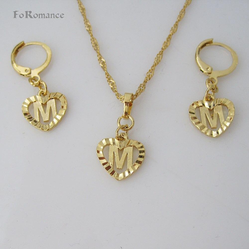 "FoRomance-Gran calidad oro GP superposición 26 letras de A Z corazón línea tallada colgante 18 ""collar olas de agua pendiente SET"