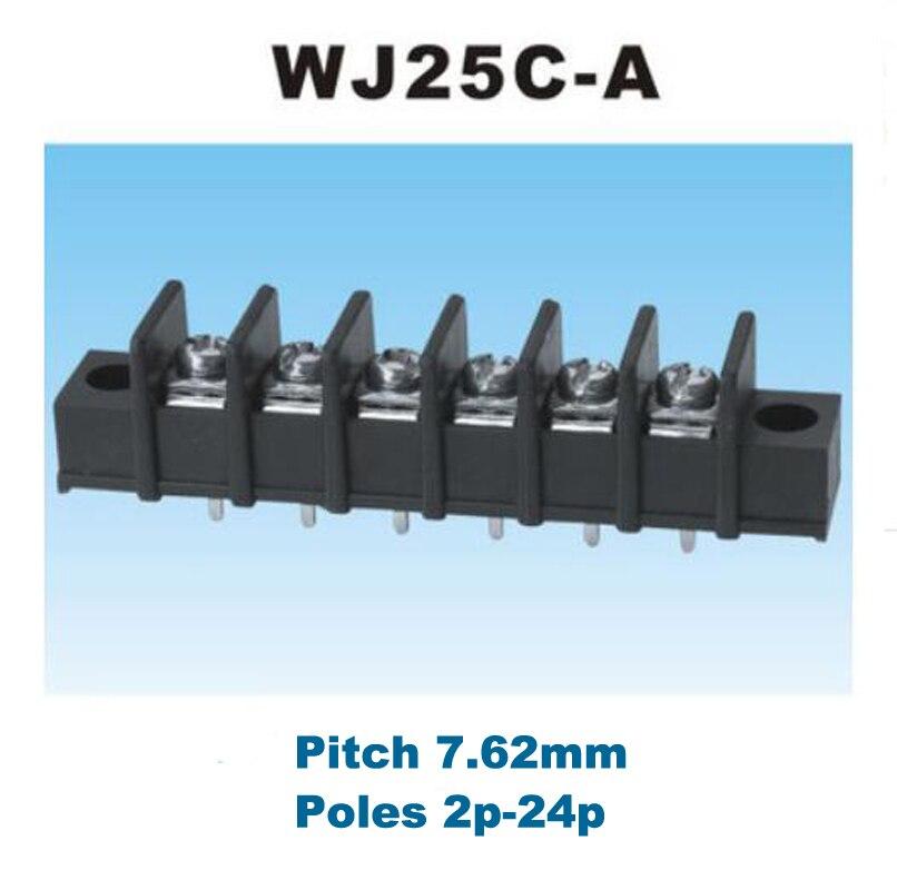 50 stücke Pitch 7,62mm Barriere PCB Terminal Block Gerade 2/3/4/5/6/ 8Pin morsettiera anschlüsse mit Schraube löcher 300 V 15A 14AWG